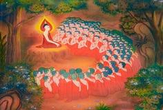De biografie van Boedha: De boeddhistische monniken doen zich voor Stock Afbeelding
