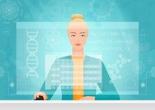 De biologievrouw die van de chemicusgenetica gebruikend virtuele media interfacewerkruimte werken Chemicus die bioengineer met fo royalty-vrije illustratie