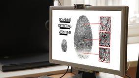 De Biometrie van het vingerafdrukaftasten identificeert Vergunningsconcept v2 stock videobeelden