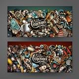 De Bioskoop horizontale banners van beeldverhaal vectorkrabbels Stock Foto