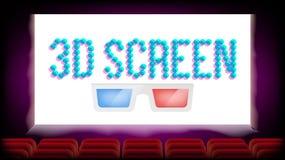 De Bioskoopvector van de het scherm 3D Film Rode zetels Het lege Ontwerp van de Premièreaffiche Illustratie Vector Illustratie
