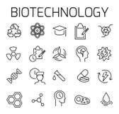 De biotechnologie bracht vectorpictogramreeks met elkaar in verband stock illustratie