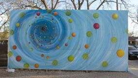 De Bischop Arts District, Dallas, Texas van de zwart gatenmuurschildering stock foto