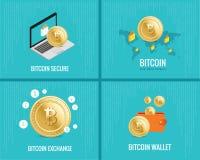 De Bitcoinillustratie plaatste - muntstukken, portefeuille, veilige en uitwisselingspictogrammen op de digitale blauwe achtergron Stock Foto