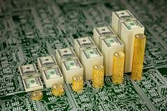 De Bitcoinwaarde stijgt - de Rekeningen van Bitcoins en van Dollars als grafieken worden gestapeld - het 3D Teruggeven die Stock Foto's