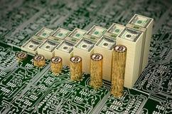 De Bitcoinwaarde stijgt - de Rekeningen van Bitcoins en van Dollars als grafieken worden gestapeld - het 3D Teruggeven die Stock Fotografie