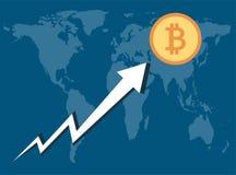 De Bitcoinzaken, Pijl stijgen aan muntstuk op achtergrond illustrator royalty-vrije illustratie