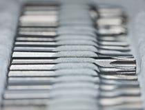 De bits van de schroevedraaier in toolbox Royalty-vrije Stock Foto's