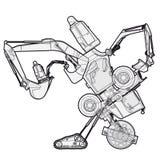 De bizarre geschetste machinerobot bouwt van de componentenvoertuigen van de grondwerken Royalty-vrije Stock Afbeeldingen
