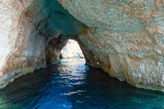 De blåa grottorna i Zakynthos (Grekland) Arkivbilder