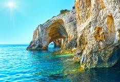 De blåa grottorna i Zakynthos (Grekland) Arkivfoto