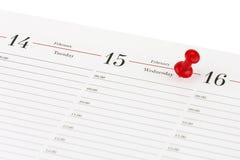 De bladagenda open op de datum van 15 Februari en is duidelijk rood c Stock Foto