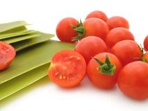 De bladen van de lasagna met tomaten Stock Foto's