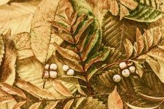 De bladeren en de bessen van de herfst stock afbeelding