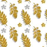 De bladeren en de bloemen van gouden en zilveren schitteren op witte achtergrond, naadloos patroon Stock Fotografie