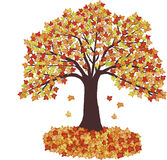 De Bladeren en de boom van de herfst - vector royalty-vrije illustratie