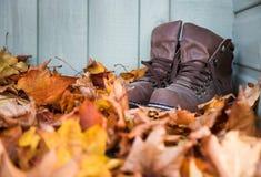 De bladeren en de laarzen van de herfst Stock Fotografie