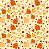 De Bladeren en de Pompoenenseizoen van de Ornamentdaling van Autumn Seamless Pattern Background Yellow het Eiken Royalty-vrije Stock Afbeelding