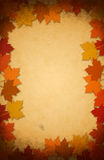 De bladeren van de dankzegging op een oude document achtergrond royalty-vrije stock foto's