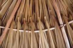 De bladeren van de palm in de hutdakwerk van schuifdakpalapa Stock Foto