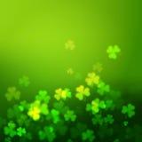 De bladeren van de Unfocusedklaver, de Dag vectorachtergrond van Heilige Patricks Stock Foto's