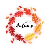 De bladeren van Hello Autumn Paper Cut September-vliegermalplaatje Ruimte voor tekst Origamigebladerte eik Het bladaffiche van de Royalty-vrije Stock Foto
