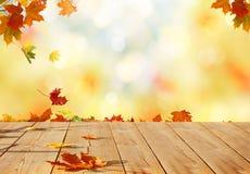 De bladeren van de de herfstesdoorn op houten lijst stock afbeeldingen
