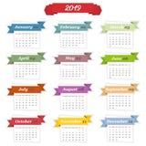 de bladeren van de het jaarkalender van 2019 in een vlak ontwerp Royalty-vrije Illustratie