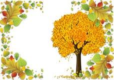 De bladeren van de de illustratiesherfst van het fotokader stock illustratie