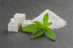 De bladeren van Stevia met steviapoeder op een leiplaat stock afbeeldingen