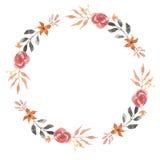 De Bladerenhand Geschilderd Gebladerte van waterverfgarland autumn leaf red wreath wedding Stock Fotografie