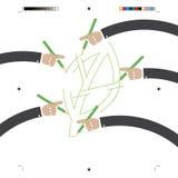 De bladtekening door velen overhandigt Groen Concept vector illustratie