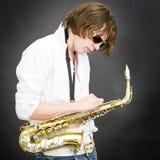 De blauw van de saxofoon Stock Afbeeldingen