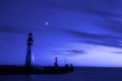 De Blauw van de vuurtoren Stock Afbeeldingen