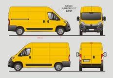 De Blauwdruk van Citroën Jumper Cargo Van 2017 L2H2 Royalty-vrije Stock Afbeeldingen