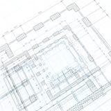 De blauwdruk van de architectuur Stock Foto