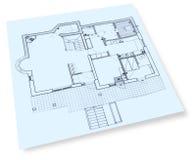 De blauwdruk van de bouwtekeningen van het huis Stock Afbeeldingen