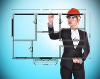 De blauwdruk van de ingenieurstekening Stock Fotografie