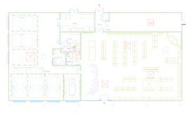 Blauwdruk van een commercieel die gebouw in CAD wordt gemaakt royalty-vrije stock afbeeldingen