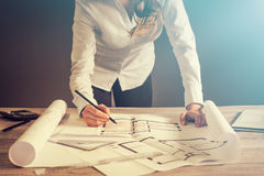 De blauwdruk van het de tekeningsproject van de architectenarchitectuur het werk ontwerp stock afbeelding
