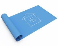 De blauwdruk van het huis Stock Foto