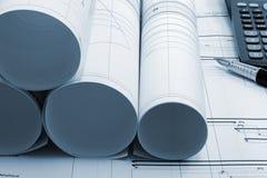 De blauwdruk van het projecttekeningen van de bouw Stock Fotografie
