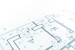 De blauwdruk van het vloerplan, blauwdrukkenachtergrond, architectuur drawin stock fotografie