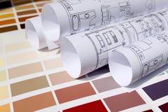 De blauwdruk van huis en de verf kleuren palet Royalty-vrije Stock Afbeelding