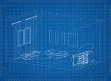 De blauwdruk van de woonkamerarchitect stock illustratie