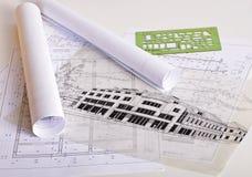 De blauwdrukken van de architectuur Stock Foto