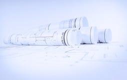 De blauwdrukken van de bouw Stock Afbeelding