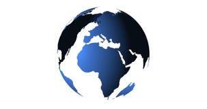 De blauwe aarde van ruimte die Amerika en Afrika, de V.S., bolwereld met blauwe 3D tonen geeft digitale animatie op wit terug stock video
