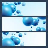 De blauwe abstracte achtergrond van ballenbanners Stock Foto's