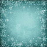 De blauwe Abstracte Achtergrond van de Kerstmiswinter met Sneeuwvlokken en St Royalty-vrije Stock Fotografie
